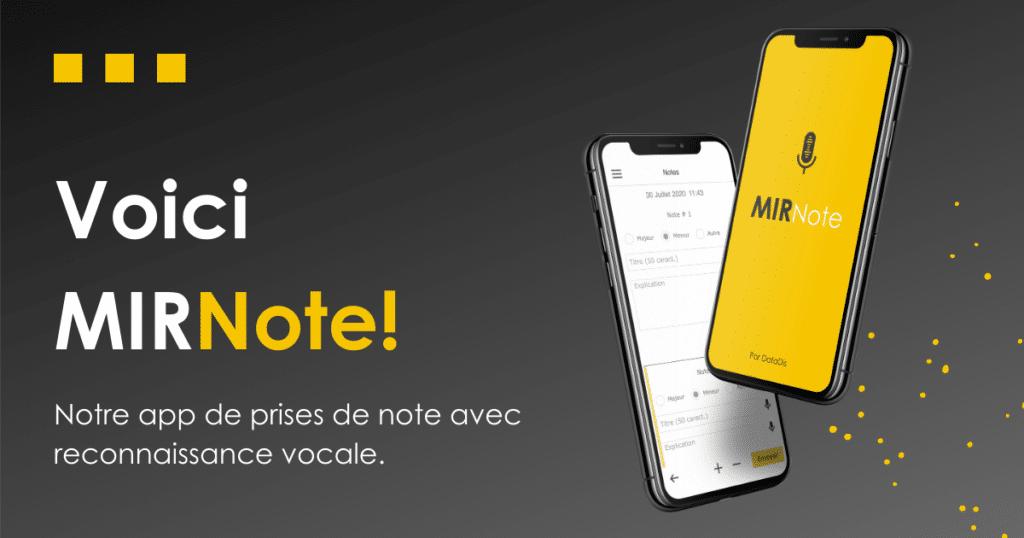 Lancement MIRNote - app de prise de notes avec reconnaissance vocale