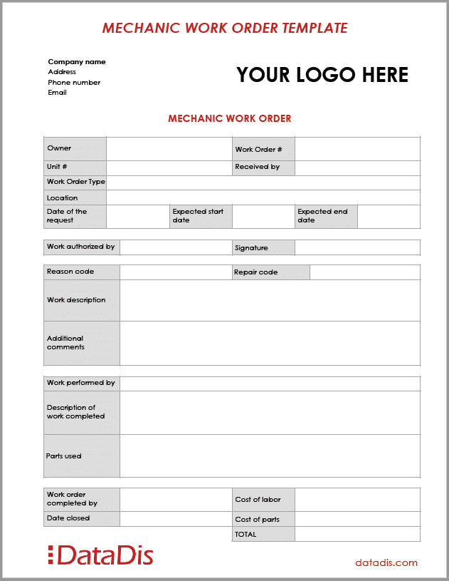 Mechanic Work Order Template by DataDis
